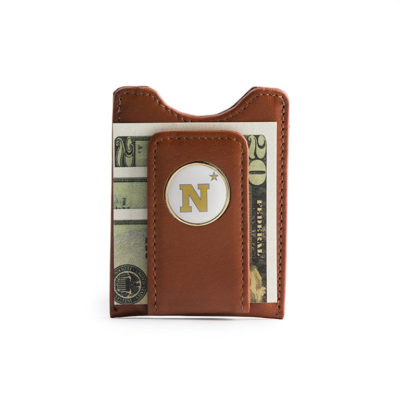 Navy Golf - Brown Leather Magnetic Money Clip